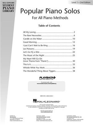 Hal Leonard Student Piano Library: Popular Piano Solos - Level 1 (Book/CD)