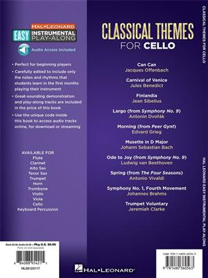 Cello Easy Instrumental Play Along Classical Themes Book Online Audio