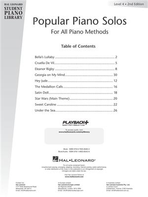 Hal Leonard Student Piano Library: Popular Piano Solos 2nd Edition – Level 4 (Book/Audio)