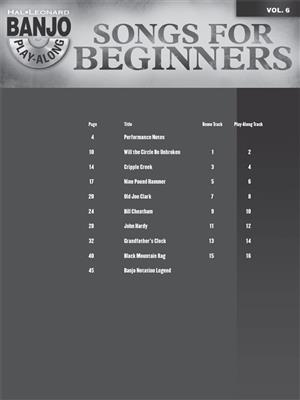 Banjo Play-Along Volume 6: Songs For Beginners (Book/CD)