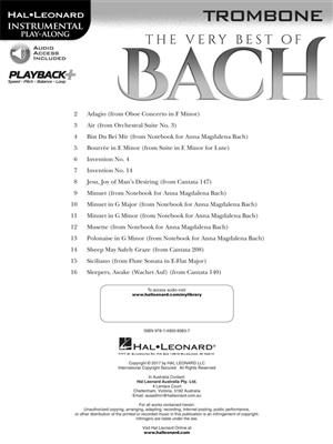 The Very Best of Bach: Instrumental Play-Along For Trombone