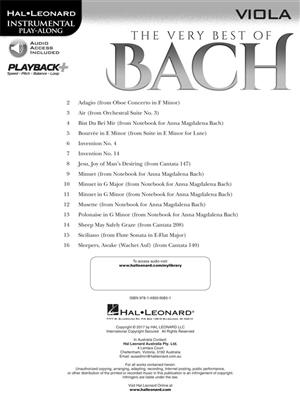 The Very Best of Bach: Instrumental Play-Along For Viola