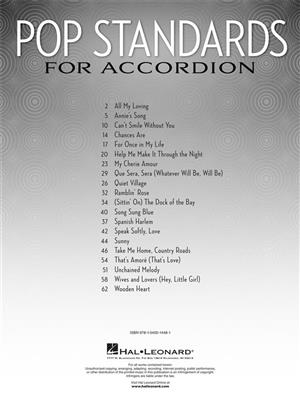 Pop Standards For Accordion Arrangements Of 20 Classic Songs
