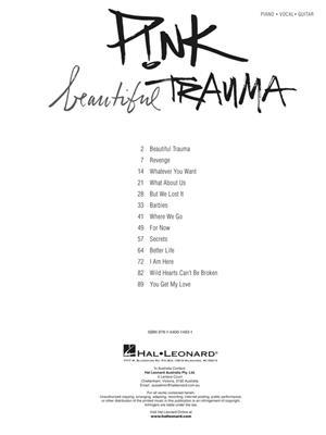 Pnk Beautiful Trauma Piano Vocal And Guitar