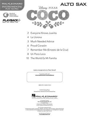 Disney Pixars Coco Instrumental Play Along For Alto Saxophone Book Audio