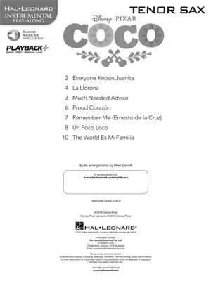 Disney Pixar's Coco: Instrumental Play-Along For Tenor Saxophone (Book/Audio)