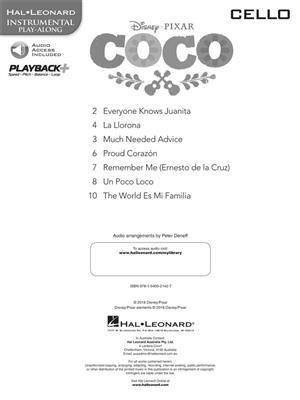 Disney Pixars Coco Instrumental Play Along For Cello Book Audio