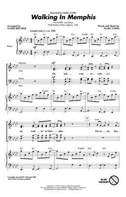 Marc Cohn: Walking In Memphis (SATB). Choral Sheet Music