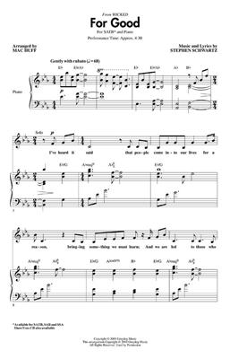 Stephen Schwartz: For Good (Wicked) (SATB). Choral Sheet Music