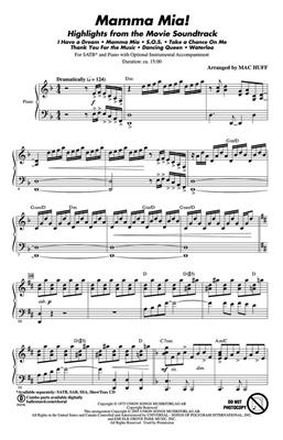 Mamma Mia! Highlights From The Movie Soundtrack (SATB). Choral Sheet Music