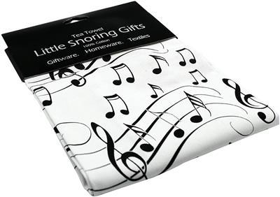 Tea Towel Black/White Notes Design